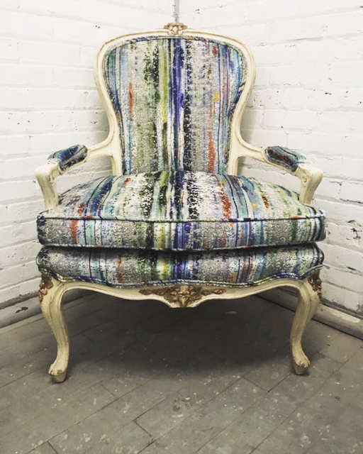 Recovered Interior Brushstroke Velvet Chair