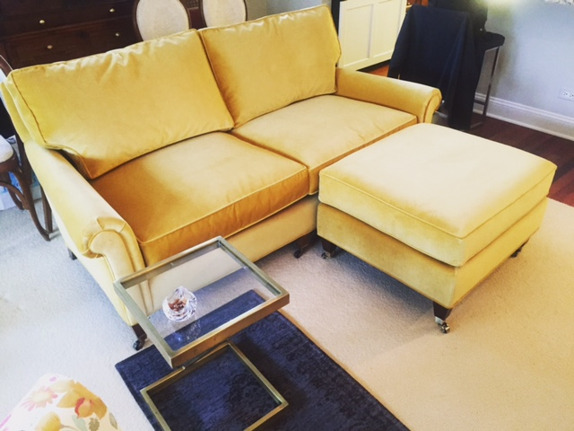 Recovered Interior Yellow Velvet Loveseat