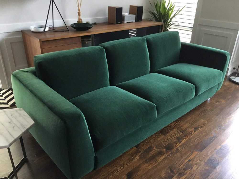Recovered Interior Green Mohair Sofa