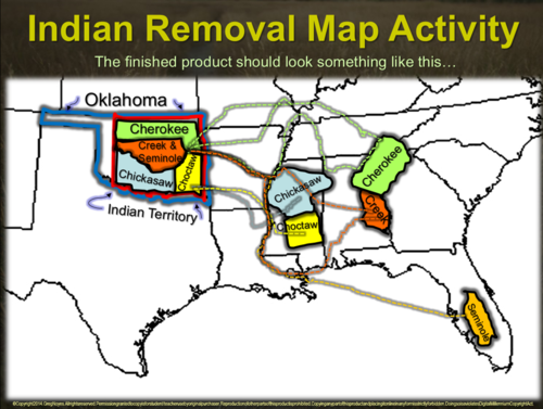 Indian Removal Map Activity Follow Along To Map Relocation Of 5 Civilized Tribes