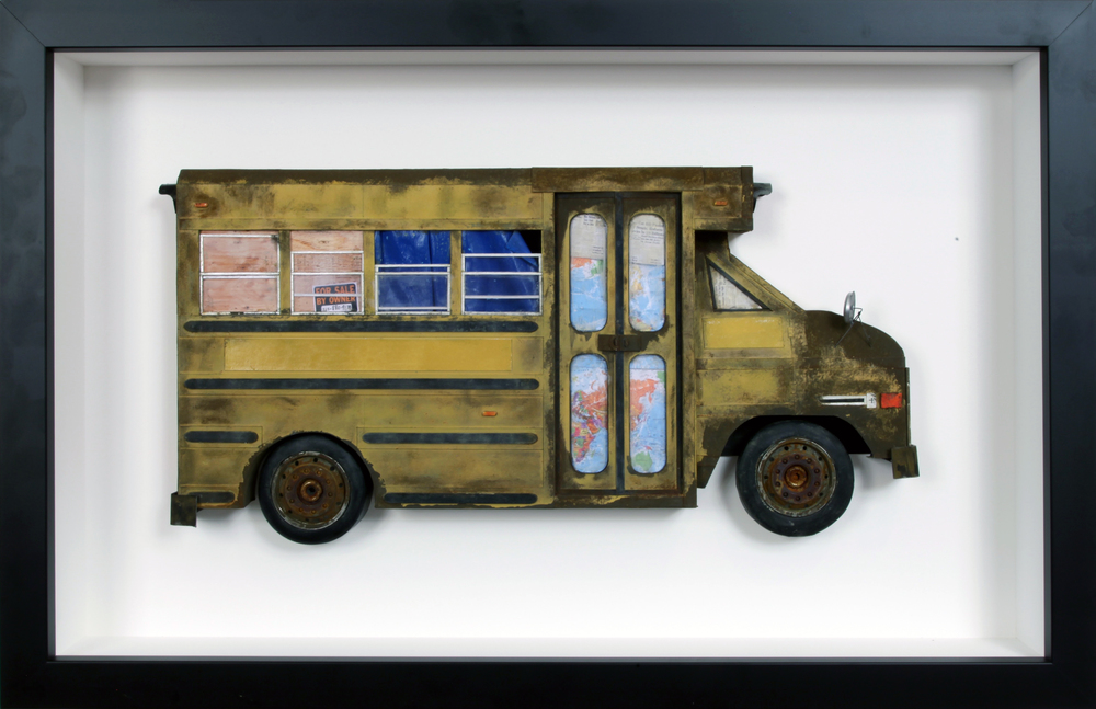 "Small School Bus - 16"" x 24 5/8"" - SOLD"