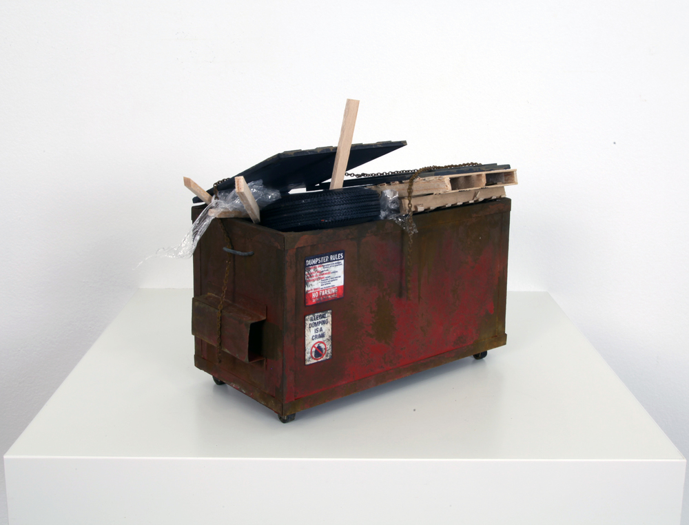 Small Red Dumpster with Trash - SOLD