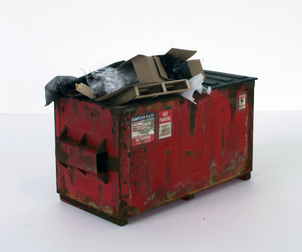 Red Dumpster (with trash) - SOLD