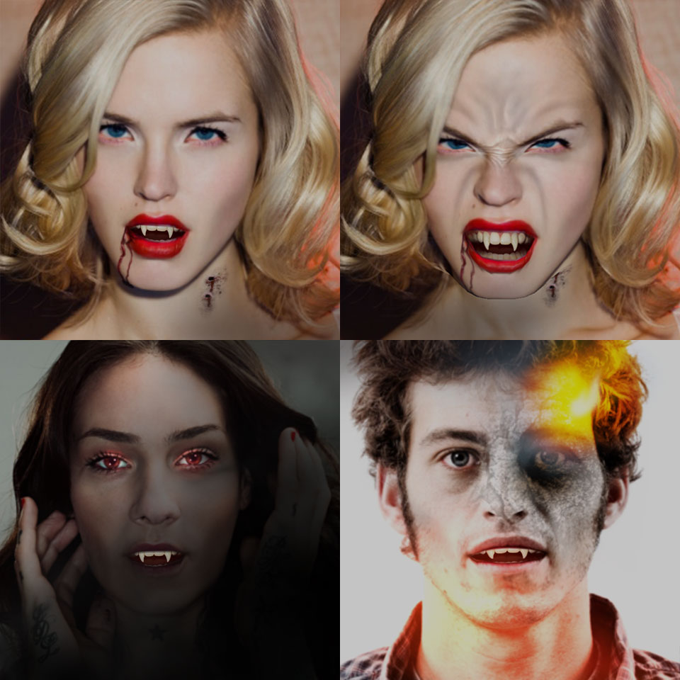 See your undead self snarl, bite, & grow fangs!