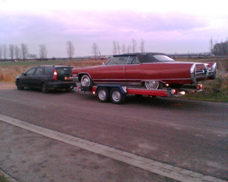 "Towing the Cadillac Eldorado (also starring in ""Route 66"") to the set of ""The Last Drug"", near Leipzig"