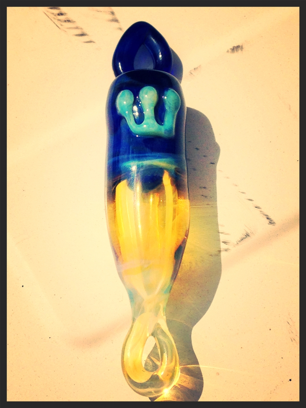 Mezzuzah - Glass Alchemy Brilliant Blue & Northstar Yellow.jpg
