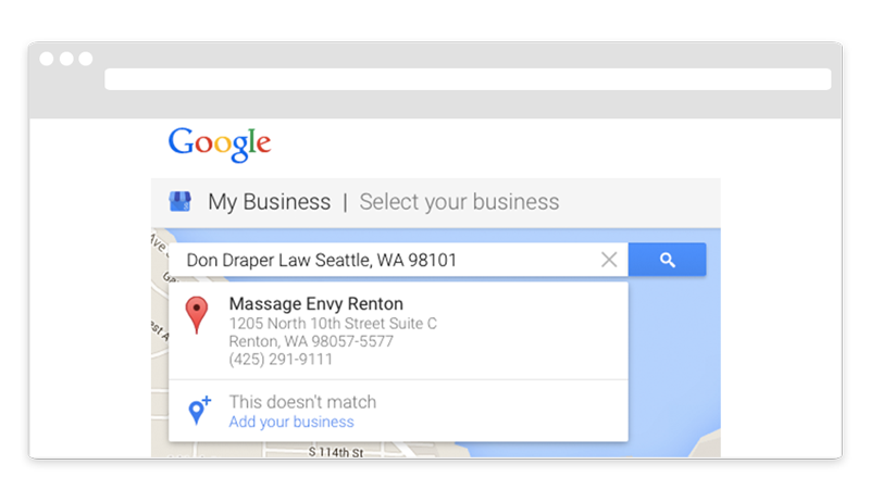 Google My Business Select Your Business