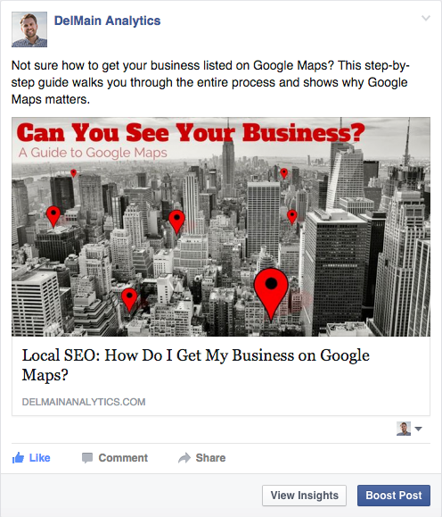 facebook boost post example