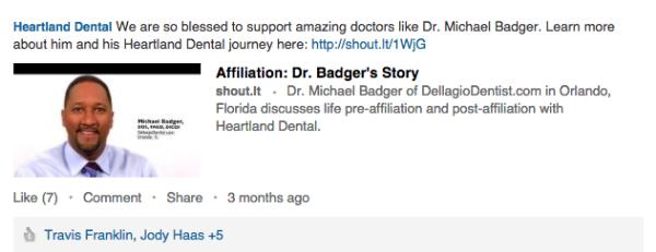 linkedin dentist post example