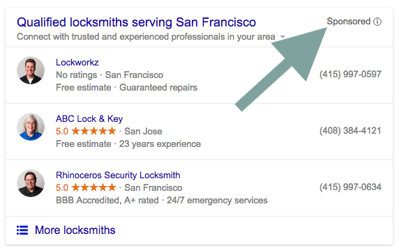 Paid Local Snack Pack San Francisco Locksmith