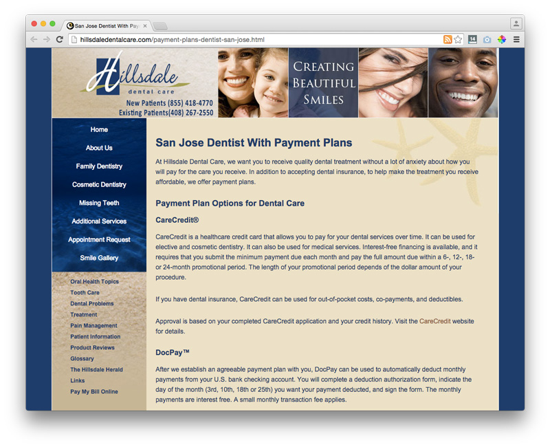 hillsdale dental payments