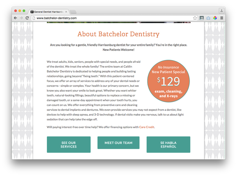 batchelor dental new patient special