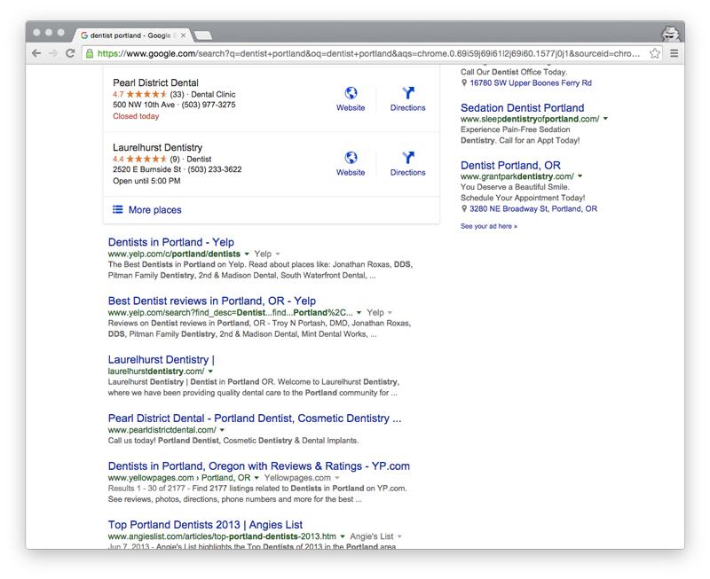 dentist portland google
