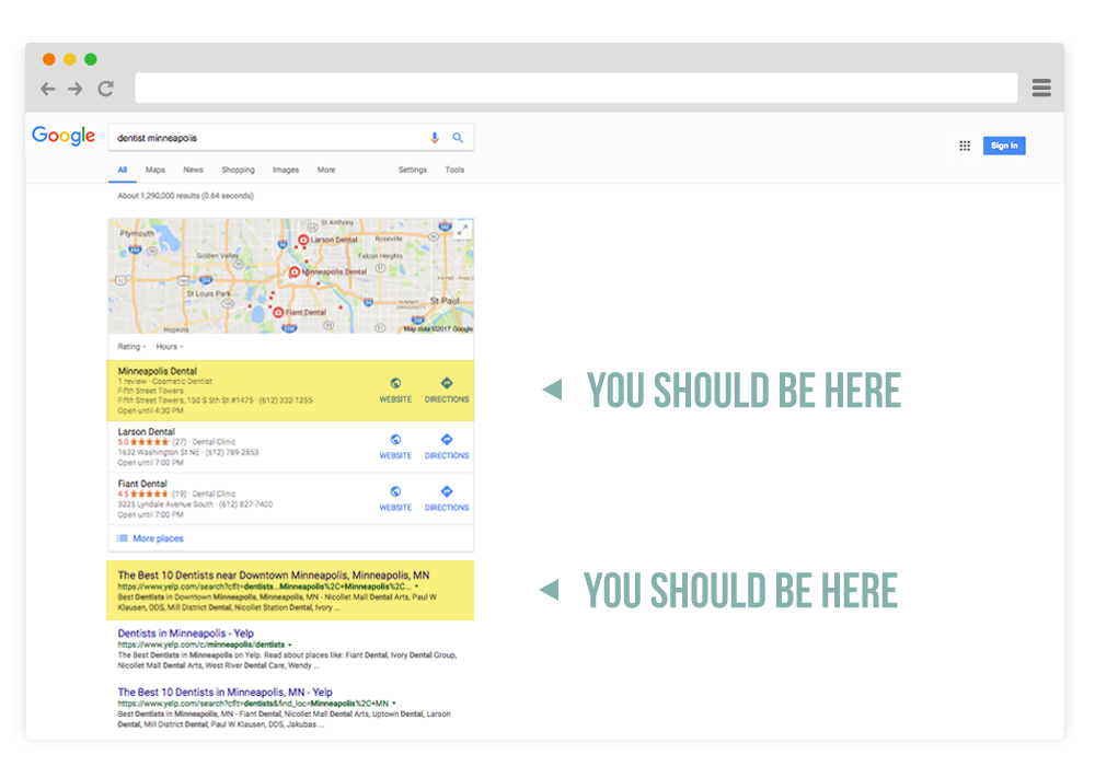 minneapolis dental search engine optimization