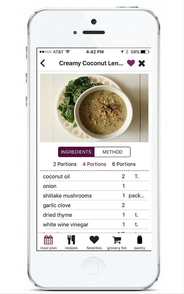 Recipe Page in App