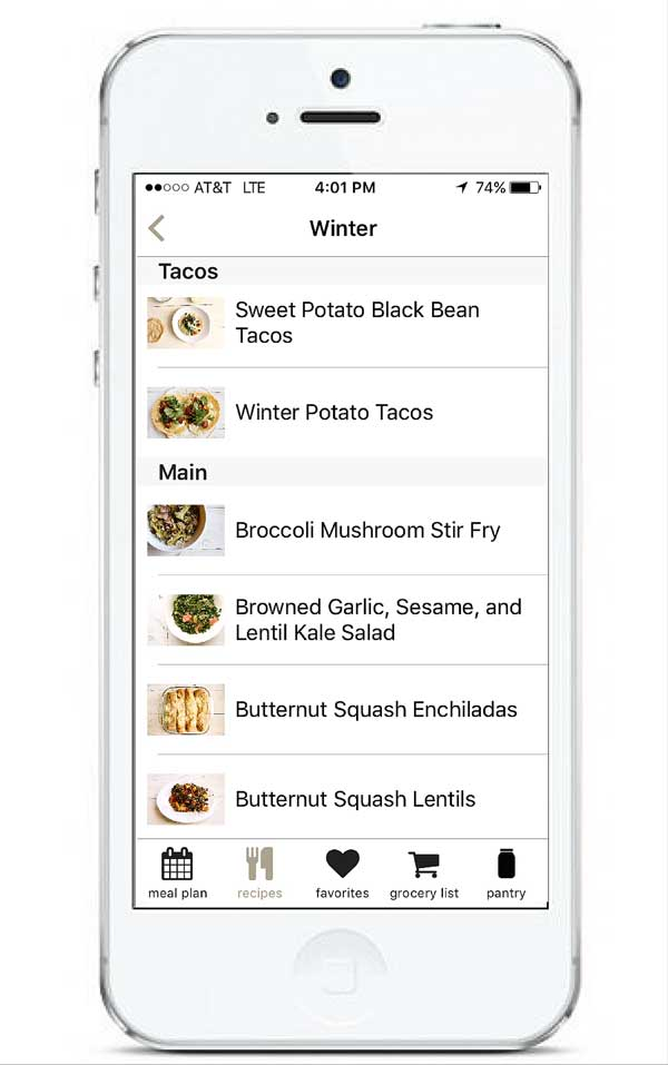 Recipe Archives in App