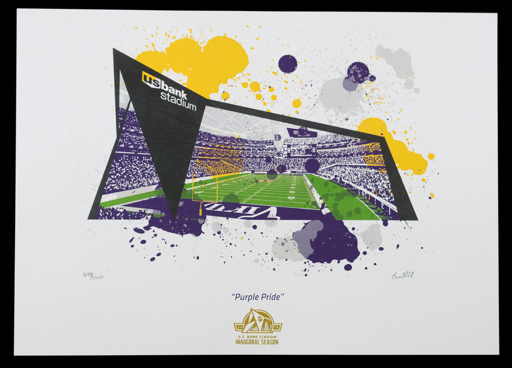 U.S. Bank Stadium Inaugural Season Commemorative Art Piece - 17 x 12.75""