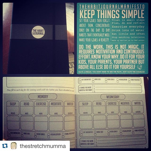 #Repost @thestretchmumma ・・・ My client had the opportunity to fund a project via @kickstarter called @thehabitjournal ! she just got her hard copy in and I must say I LIKE IT! Highly recommend to anyone trying to create new more positive habits in their life.  Tracking things such as exercise, meditation, water intake, sleep and meditation. You essentially set your goals and decided what you will do everyday that will help you get to that goal 💪🏻. You can check out this video on YouTube to learn more about it http://youtu.be/fW_2Poz9e38  #  #thehabitjournal #habits #goals #fitness #healthandwellness