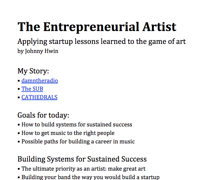 The Entrepreneurial Artist
