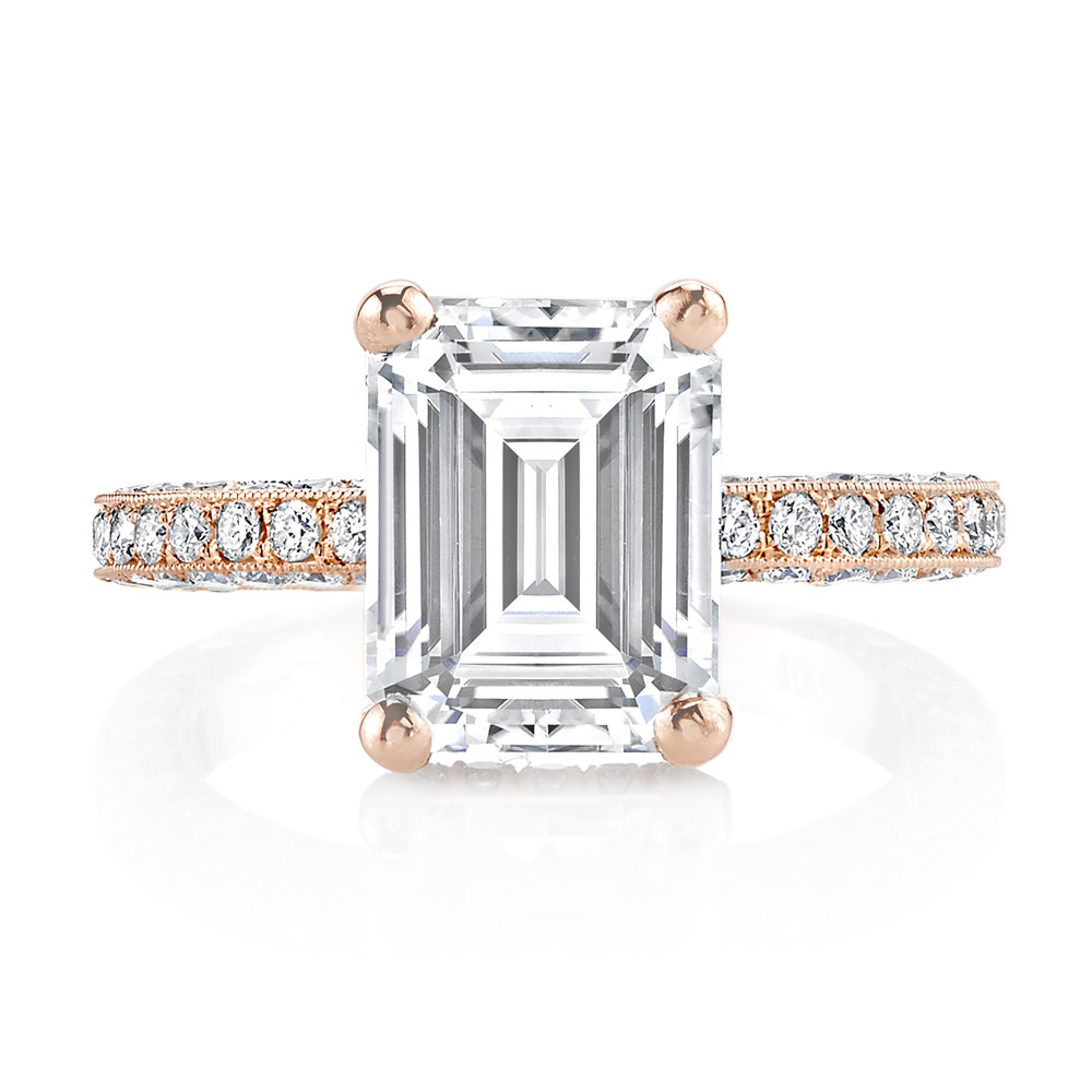 Custom 3.5ct Emerald Cut Rose Gold Engagement Ring
