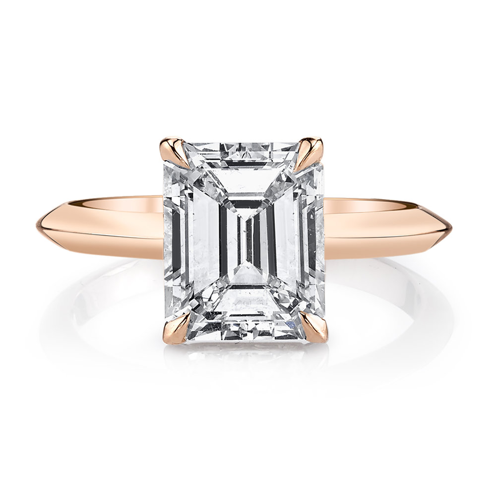 Custom 2.43ct. Emerald Cut Rose Gold Engagement Ring