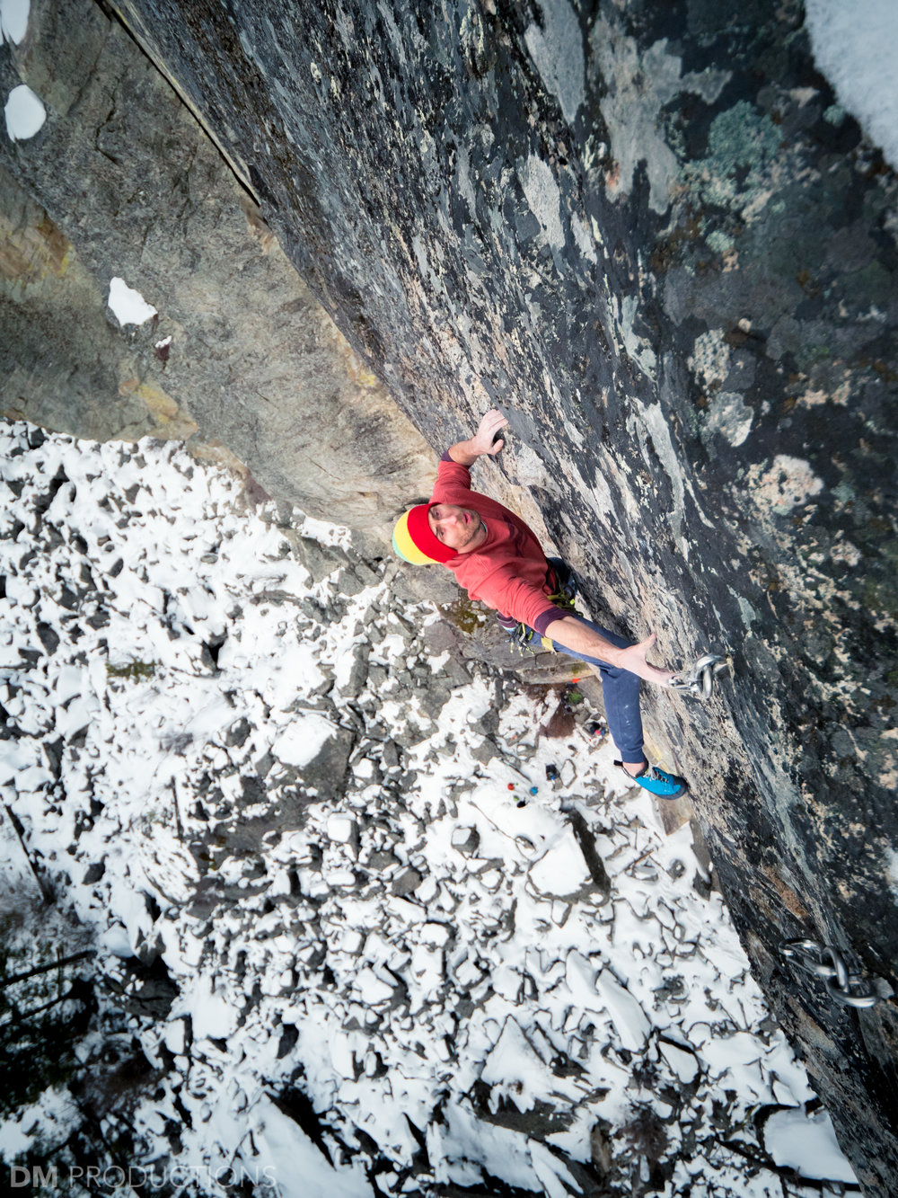 Sonnie nearing the top of Air Test, 5.13, Great White Wall.