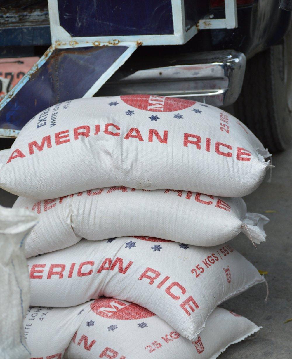 Large bag of rice - $30  Half a bag of rice - $15