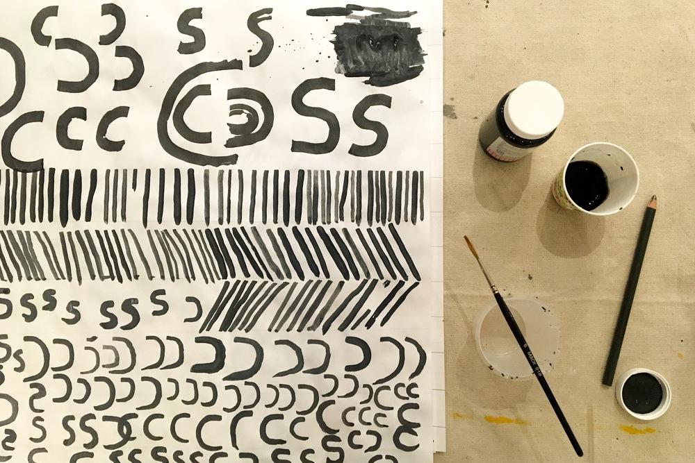 Single stroke lettering practice – pattern swoon