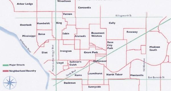 Portland Oregon Map Of Neighborhoods.Neighborhood Boundaries Historic Irvington