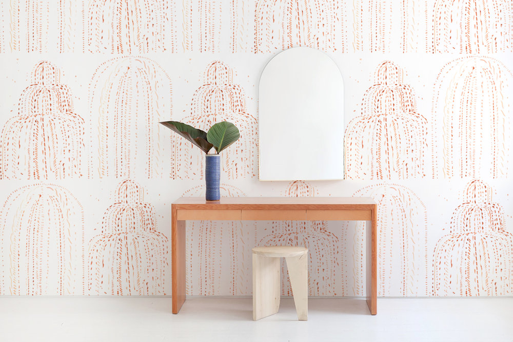 Features  New Deco: Chanin Reposable Wallpaper  with furniture and accessories by Egg Collective.  Please contact the studio  for a custom quote for your wall space.
