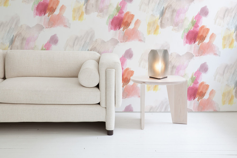 Features  Edwardian Era Palette Reposable Wallpaper  with furniture and accessories by Egg Collective.  Please contact the studio  for a custom quote for your wall space.