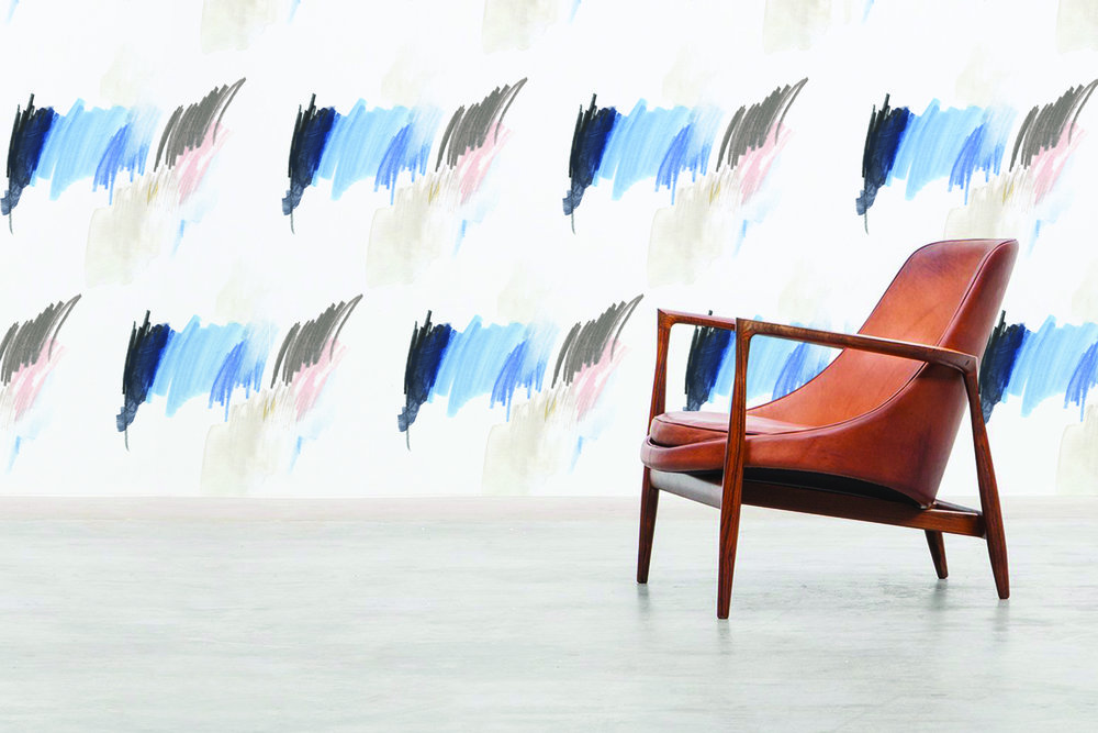 Features  Land Art Palette Reposable Wallpaper  with Ib Kofod Larsen's 1956 Seal Chair.  Visit the SHOP for details!