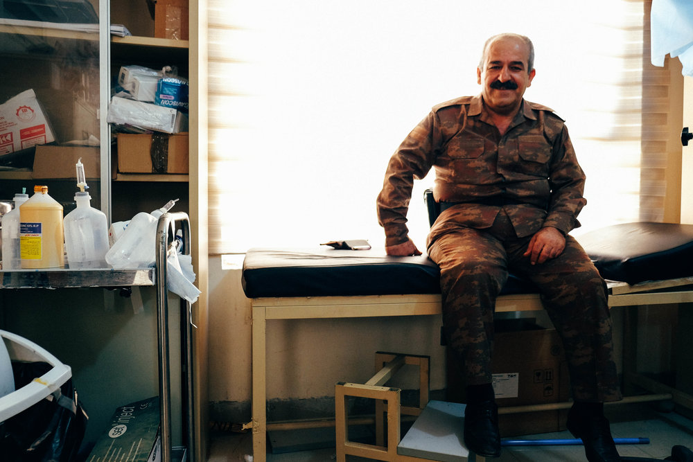 A Peshmerga general introduced FAI RELIEF officials to the soldiers' limited front line clinics