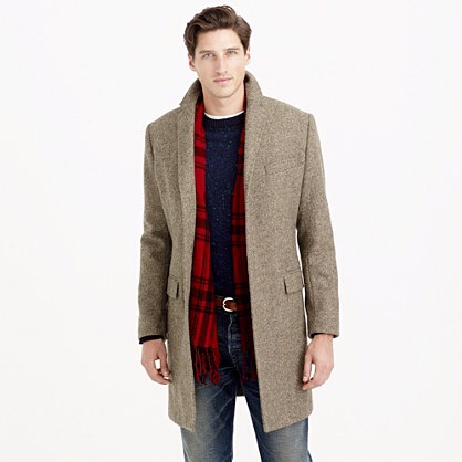 J.CREW :Wool Topcoat in Dusty Brown Herringbone $349.99