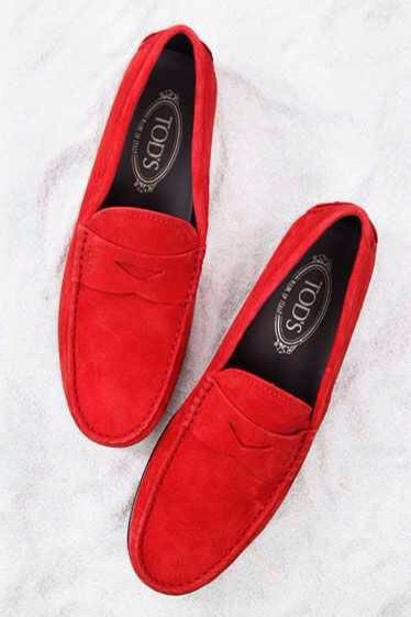 TODS: Red Suede 'Gommino' Driving Loafer $445-$495