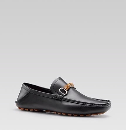Gucci: Black 'Damo' Loafer w/ Bamboo strap $480