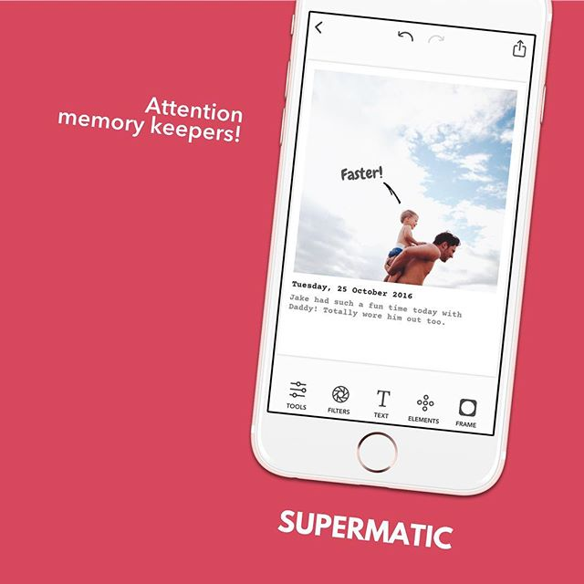 Our new sister app is out today! 🎉 Supermatic is the missing gem for memory keepers and scrapbookers. Combine photos, dates and journaling in the blink of an eye! 👊🏻 Link in our profile - #supermaticapp