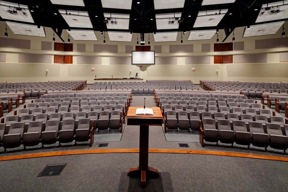 this worship center of 900 seats on a sloped floor has been designed with a REMOVABLE back wall to easily expand to 1,800 with amphitheater seating for Calvary baptist church of Bethlehem (easton), PA. Both phases were designed with excellent sight lines and ACOUSTICS.