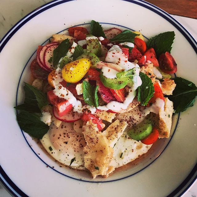 Fattoush for this upcoming blazing hot weekend! Heirloom tomatoes, Persian cucumbers, radishes, herbs, house-made pita and yogurt sitting atop two beautiful @lazybranch eggs.  #barjotseattle #barjot #fattoush #thepowerofsumac #summerheat