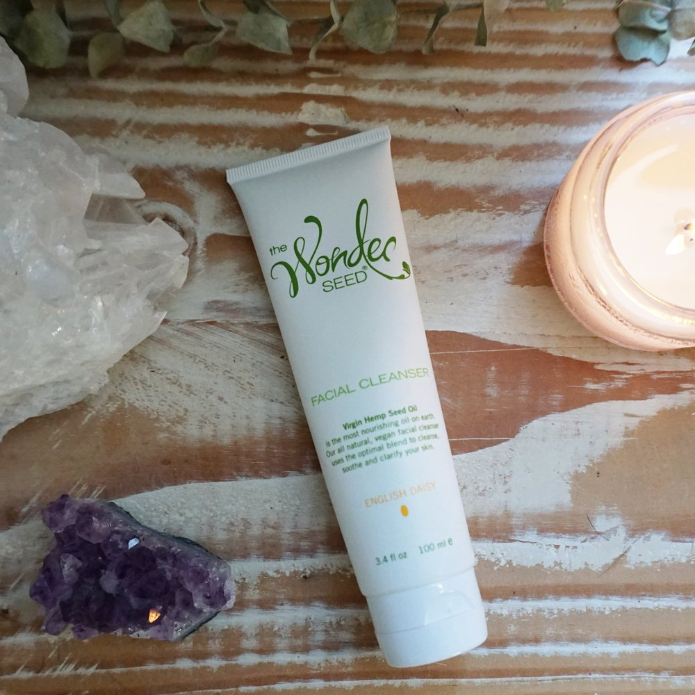 Cleanser - Every am/pm I wash my face with The Wonder Seed Facial Cleanser. I make sure my face and hands are more so damp instead of super wet so that the cleanser doesn't get super diluted. I spend a good several moments massaging it into my skin and making sure I get it around my jawline and neck.