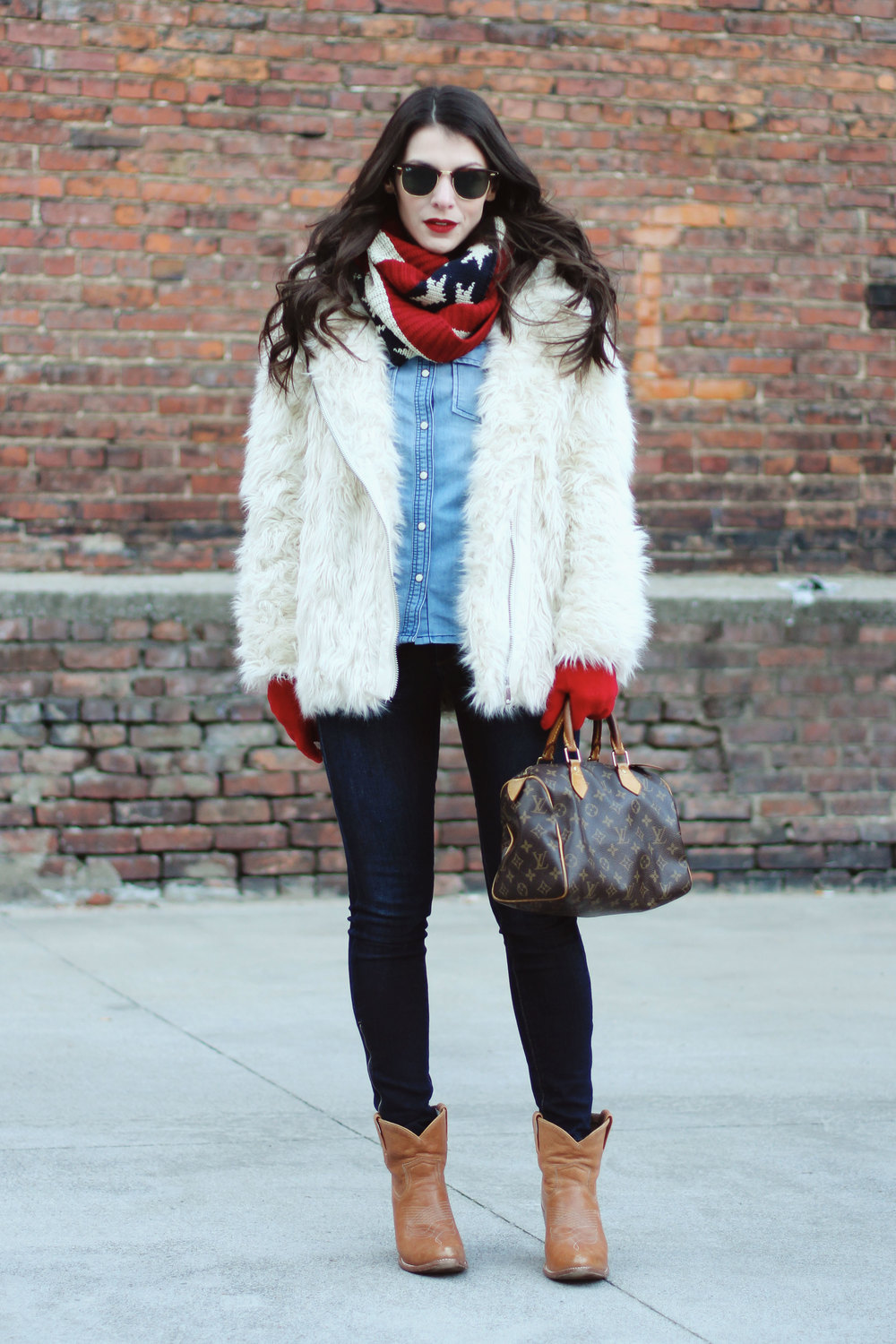 Winter Outfit, Faux Fur Coat, All Denim Canadian Tuxedo, American Flag Infinity Scarf, Ray-Ban Clubmasters, Louis Vuitton Speedy 25