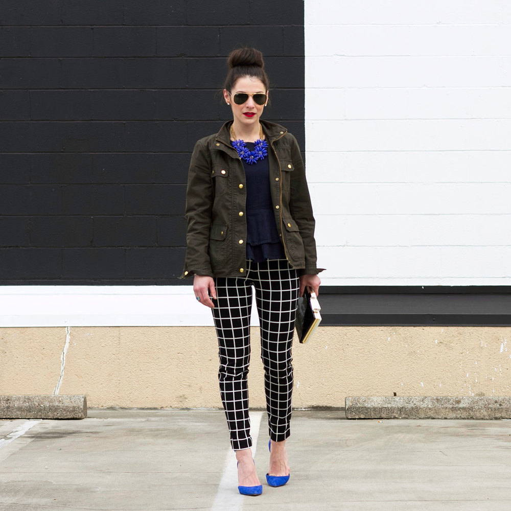 Old Navy Pixie Pants, J.Crew Field Jacket, Jessica Simpson Pumps, Blue Suede Shoes, Top Knot, Black and White Pants, Denim Peplum Top, Kate Spade Clutch