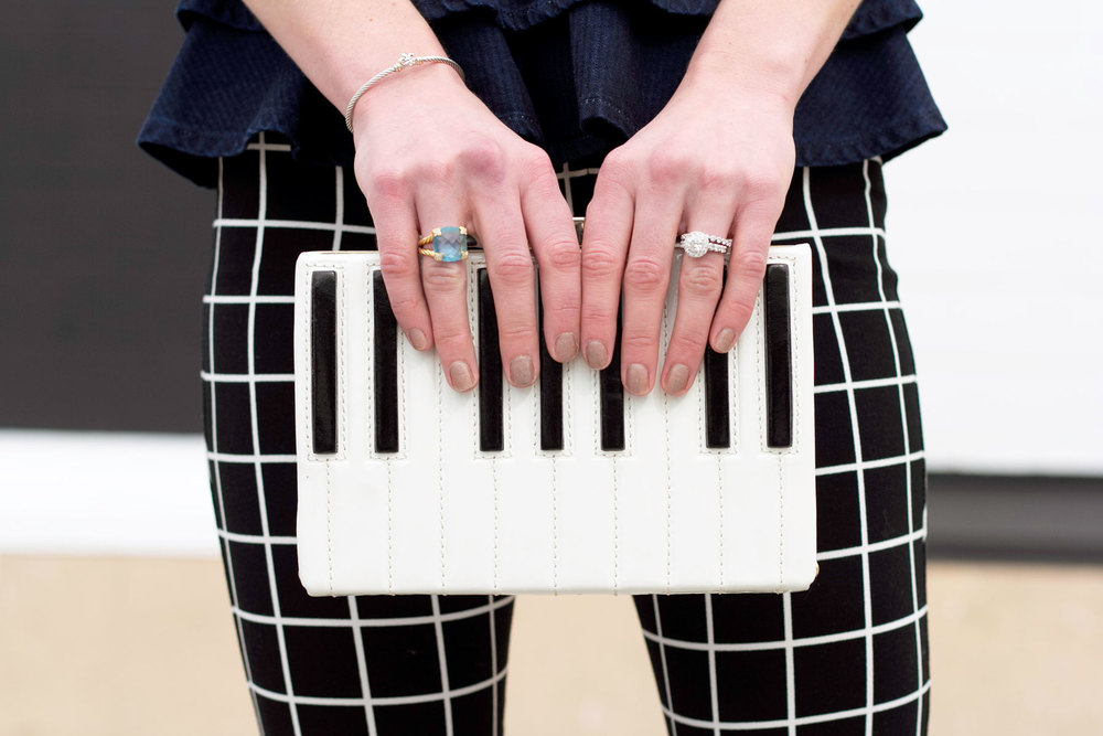 Kate Spade Piano Clutch, David Yurman Ring, Christopher Designs Engagement Ring, Tacori Wedding Band