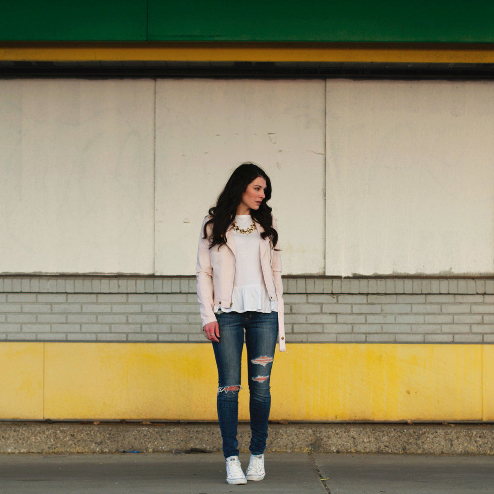 Current Elliott Denim Motorcycle Jacket, Peplum T-Shirt, Destroyed Joe's Jeans, White Chuck Taylors