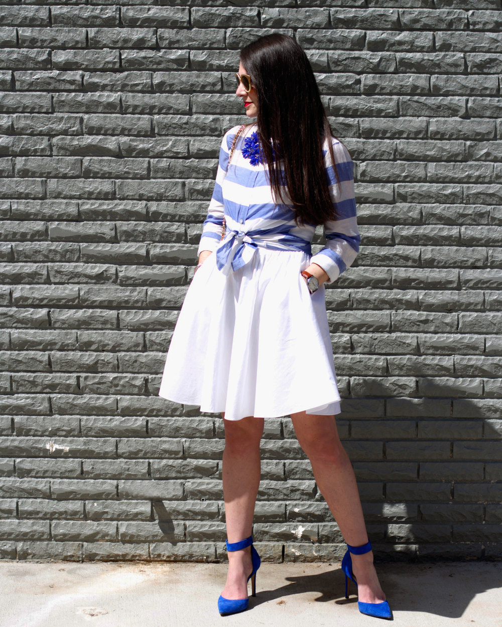 Easter Outfit, Button-Up Blouse over Dress, Dress as a Skirt, Apron Dress, Tory Burch Sunglasses, Jessica Simpson Pumps, Blue Suede Shoes, Vintage Chanel Handbag