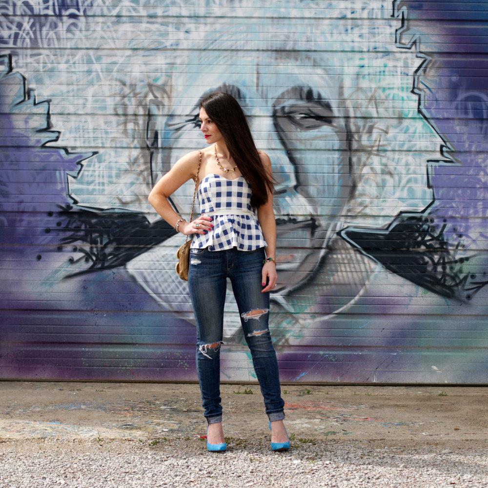 Gingham Top, Distressed Joe's Jeans, Blue Jessica Simpson Claudette Pumps, Vintage Chanel Bag, Tory Burch Sunglasses, Spray Paint Mural
