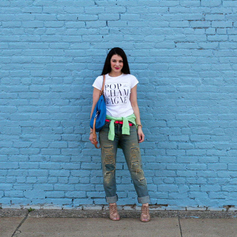 POP The Champagne T-Shirt, T&J Designs, Current Elliott Boyfriend Jeans, Neon Pink Belt, Neon Green Sweatshirt, Blue Cole Haan Handbag, Fashion Blogger, Summer Style