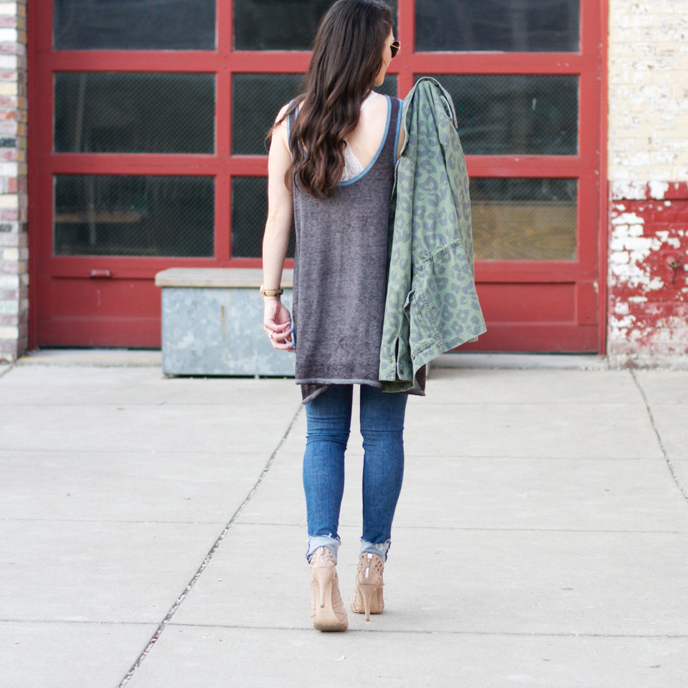 Fashion Blogger, Summer Style, Free People, Distressed Denim Skinny Jeans, Druzy Necklace, Dolce Vita Caged Sandals, Green Anorak
