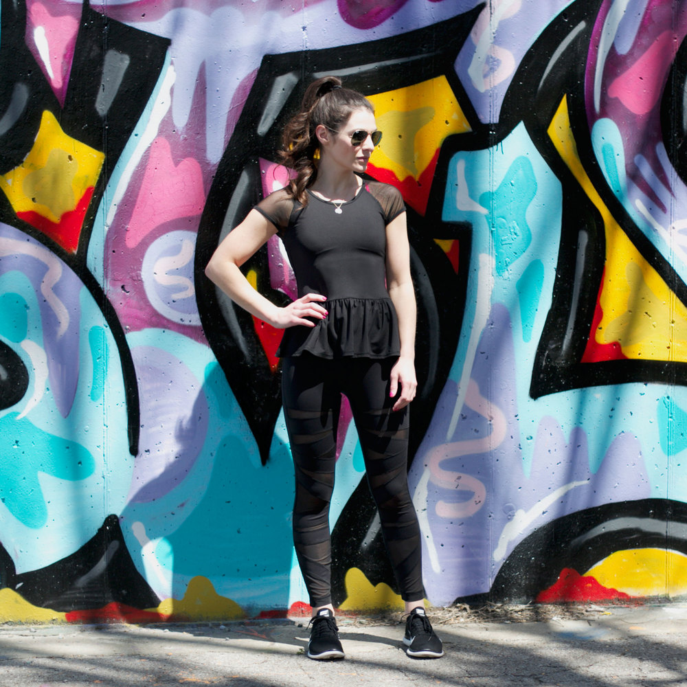 Fashion Blogger, Fashionably Fit, Cute Workout Clothes, Lululemon Pants, Sheer Panel Workout Pants, Nike Free Running Shoes, Peplum Workout Top