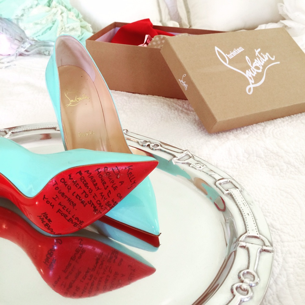 Christian Louboutin Wedding Shoes, Love Letter from Groom, Blue Wedding Shoes